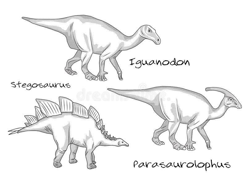 Ligne mince les illustrations de style de gravure, divers genres de dinosaures préhistoriques, il inclut le stegosaurus illustration de vecteur