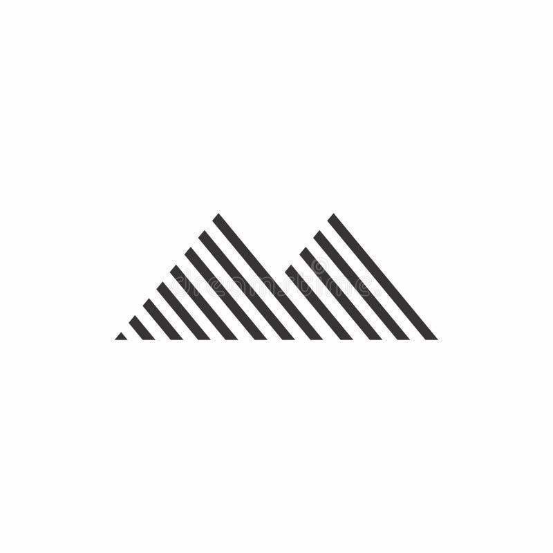 Ligne mince logo de rayures de décoration de montagne illustration libre de droits