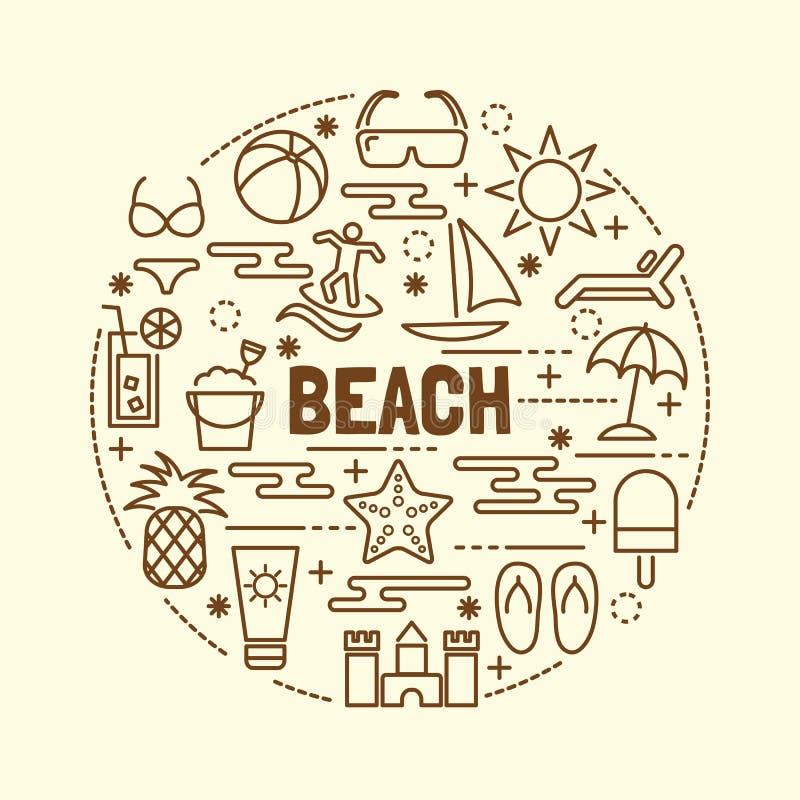 Ligne mince minimale icônes de plage réglées illustration libre de droits
