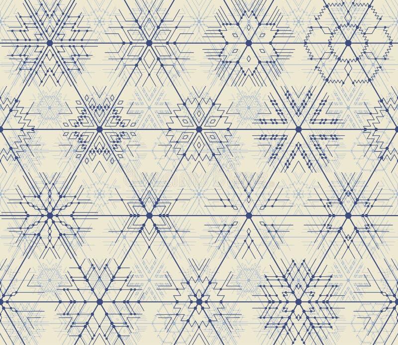 Ligne mince modèle géométrique de vecteur sans couture des flocons de neige illustration de vecteur