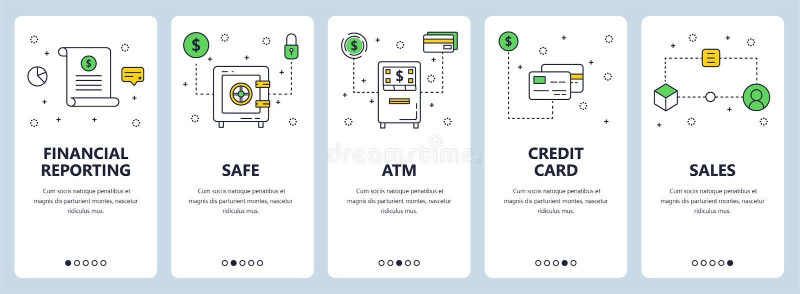 Ligne mince moderne ensemble de vecteur de bannière de Web de concept d'informations financières illustration de vecteur