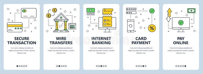 Ligne mince moderne ensemble sûr de vecteur de bannière de Web de concept de transactions illustration de vecteur