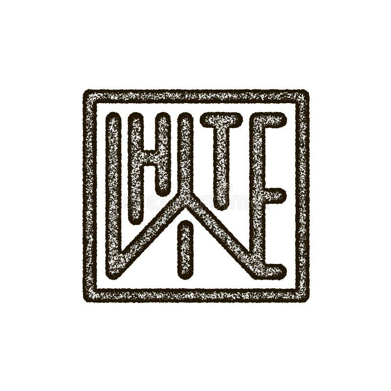 Ligne mince noire et blanche emblème de maquette illustration stock
