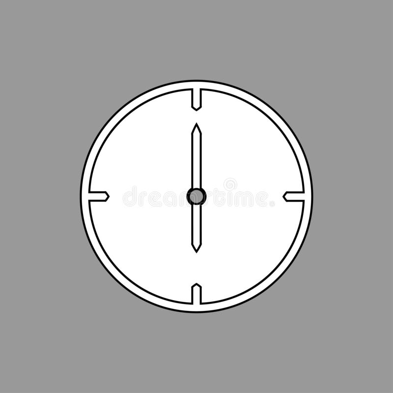 Ligne mince noire et blanche icône d'horloge 6 heures sur le fond gris - illustration de vecteur illustration de vecteur