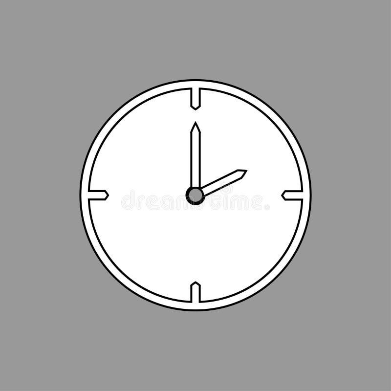 Ligne mince noire et blanche icône d'horloge 2 heures sur le fond gris - illustration de vecteur illustration libre de droits