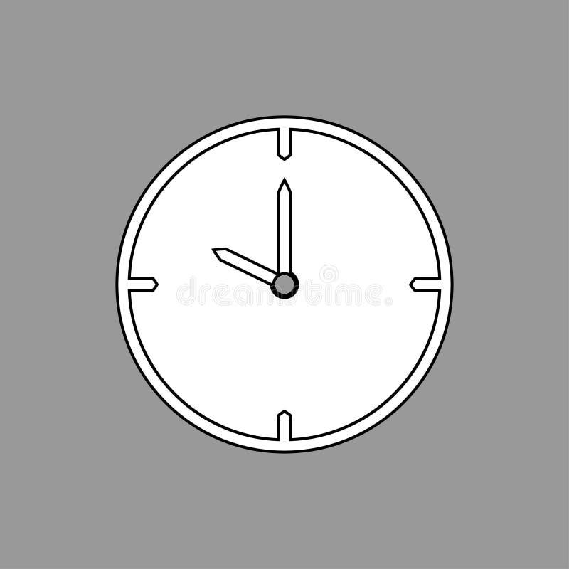 Ligne mince noire icône d'horloge sur le fond gris 10 heures - illustration de vecteur illustration libre de droits
