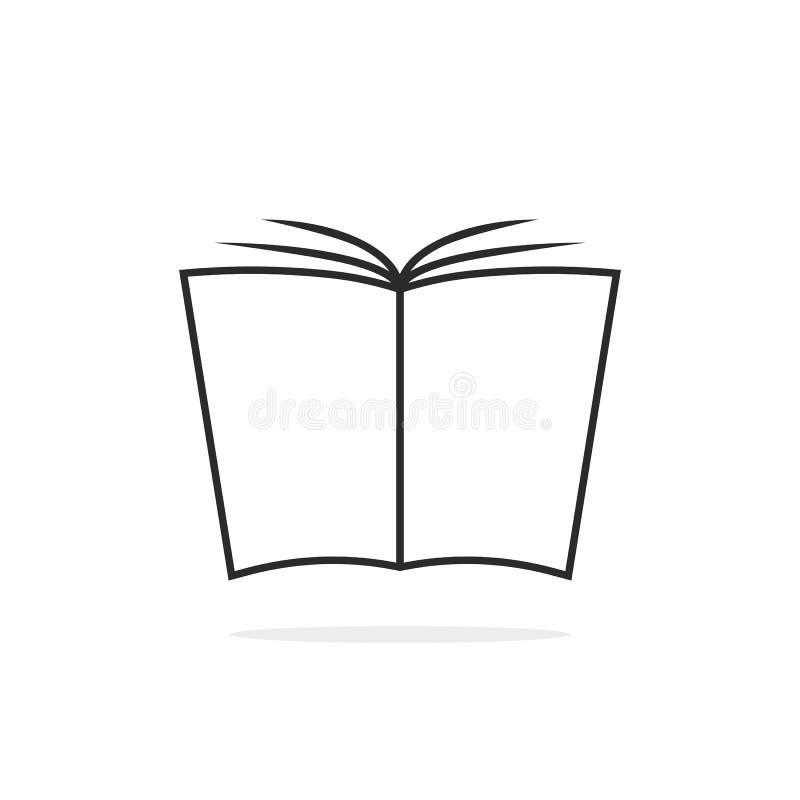 Ligne mince noire logo de livre illustration de vecteur