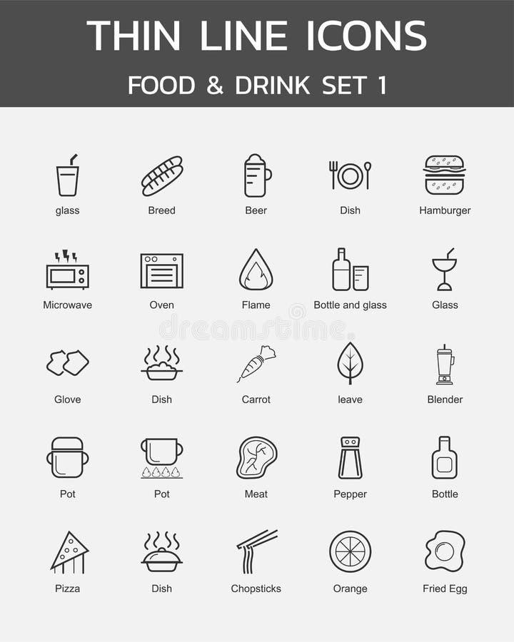 Ligne mince nourriture d'icônes et ensemble 1 de boissons illustration libre de droits