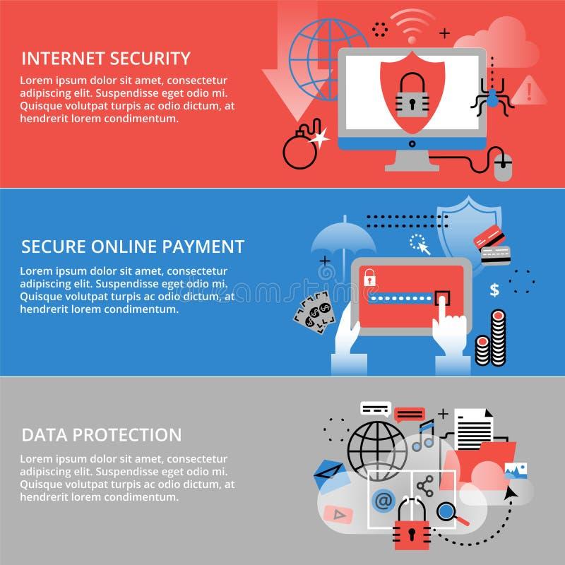Ligne mince plate moderne illustration de vecteur de conception, concepts infographic de sécurité d'Internet, en ligne sûr et pro illustration stock