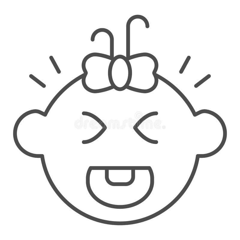 Ligne mince pleurante icône de bébé Illustration de vecteur de cri d'enfant d'isolement sur le blanc Conception de style d'ensemb illustration libre de droits