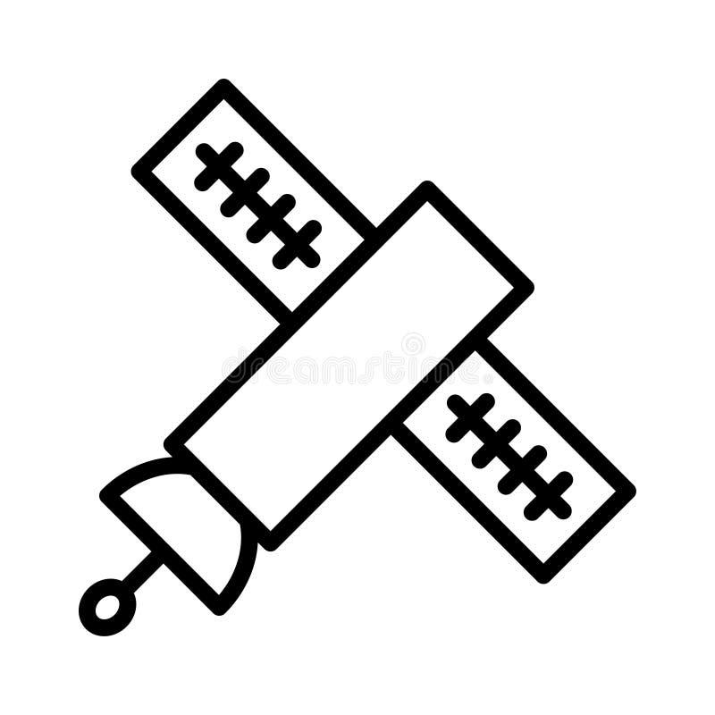 Ligne mince satellite icône de vecteur illustration libre de droits
