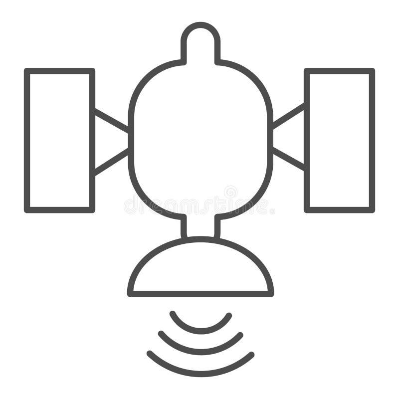 Ligne mince satellite ic?ne. Illustration vectorielle de radiodiffusion isolée en blanc. Conception de style de structure de conn illustration stock