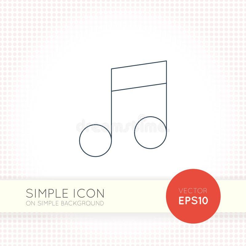 Ligne mince supplémentaire icône universelle de notes musicales de vecteur de conception Éléments pour l'interface utilisateurs illustration libre de droits