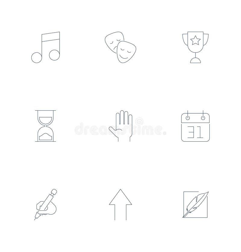 Ligne mince supplémentaire icônes d'universel de vecteur de conception Éléments pour l'interface utilisateurs illustration stock