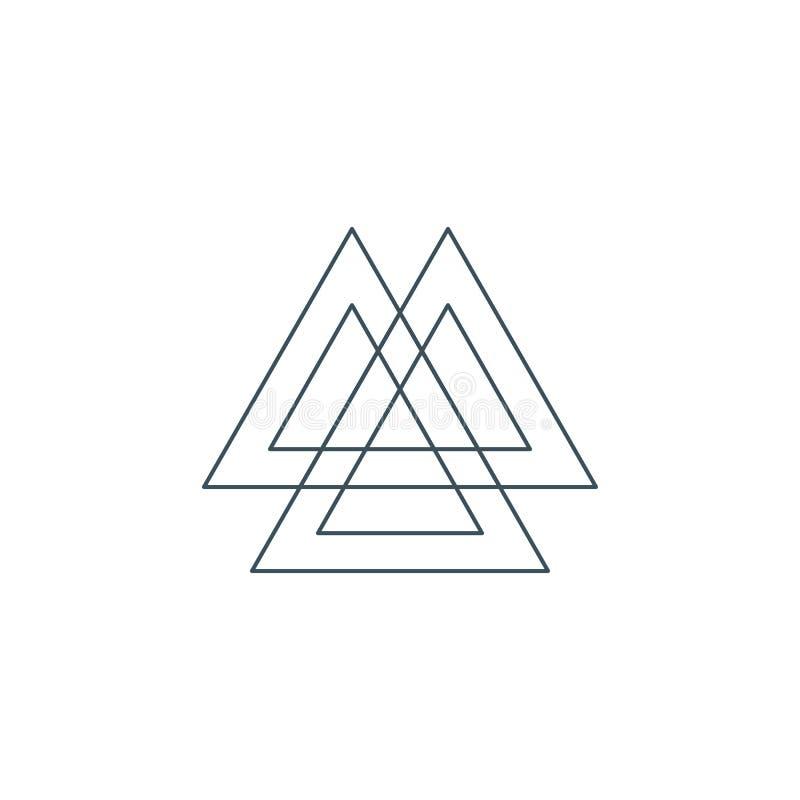 Ligne mince symbole de valknut, la géométrie sacrée illustration de vecteur