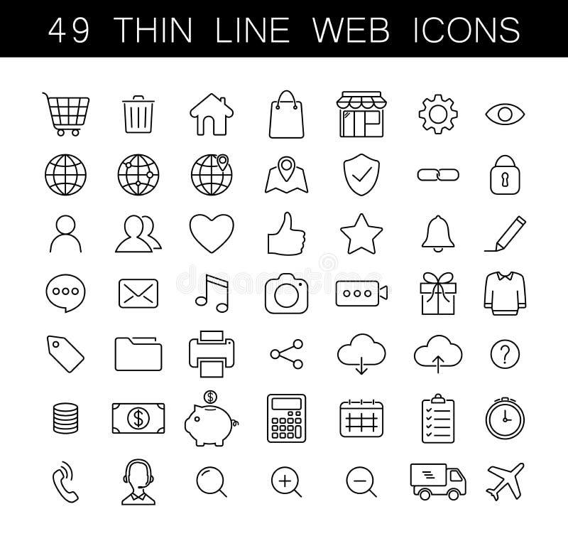 Ligne mince universelle icônes de Web réglées illustration de vecteur