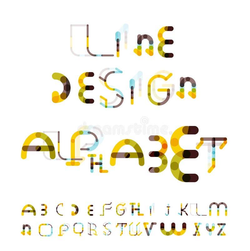 Ligne minimale alphabet de conception, police, oeil d'un caractère illustration stock