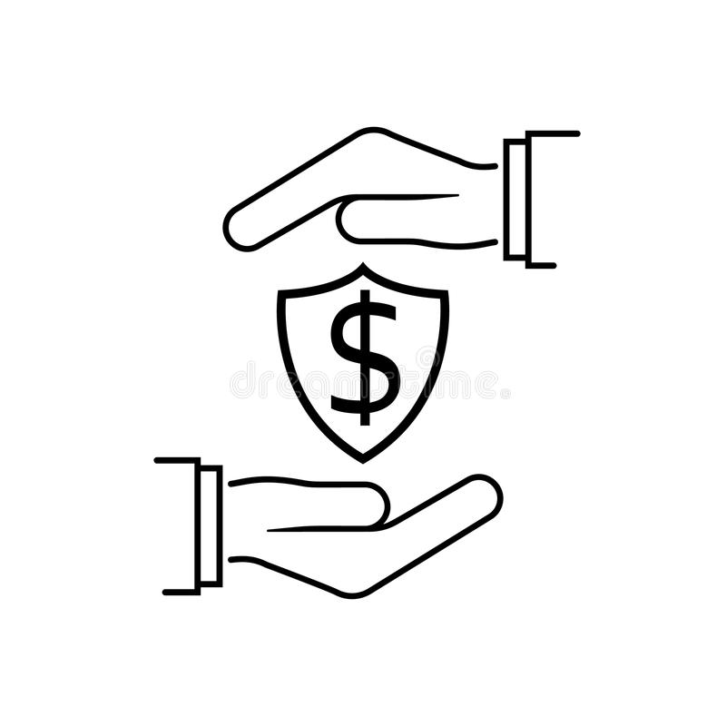 Ligne minimale de noir d'icône d'argent de protection illustration stock