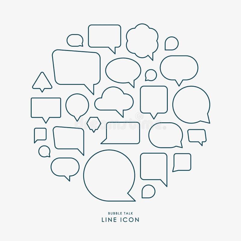 Ligne minimale icônes d'entretien de bulle infographic illustration de vecteur