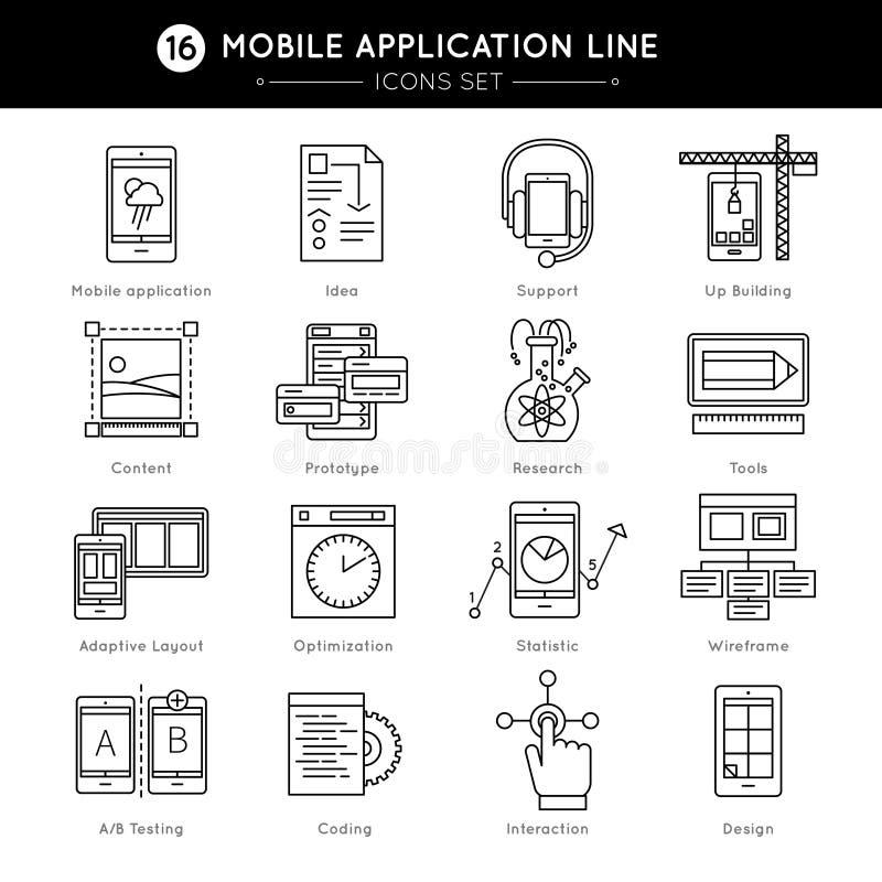 Ligne mobile ensemble d'application d'icône illustration de vecteur
