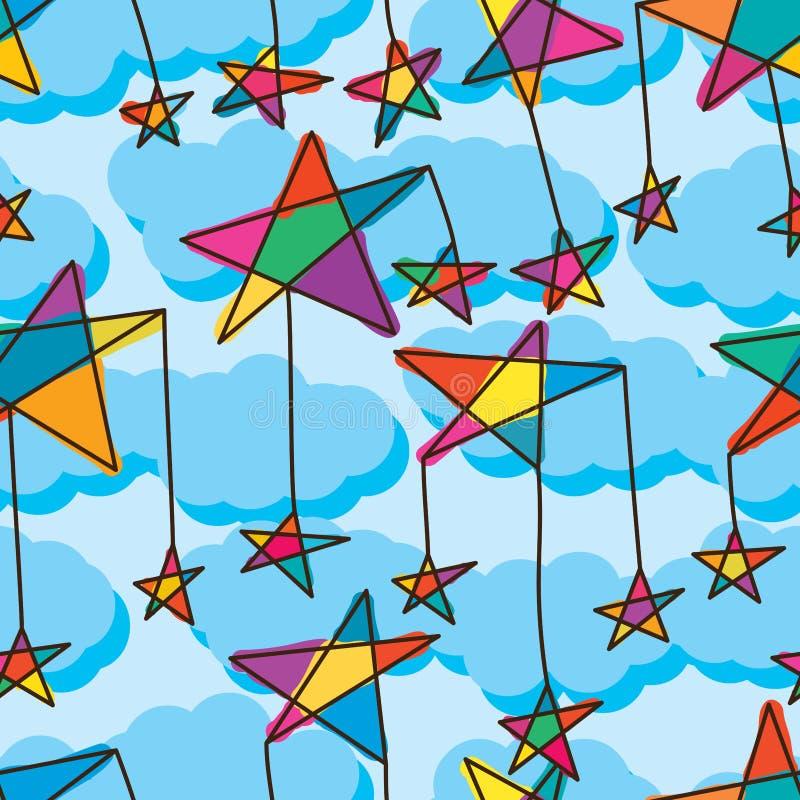 Ligne modèle sans couture d'étoile de ciel mignon de baisse illustration libre de droits