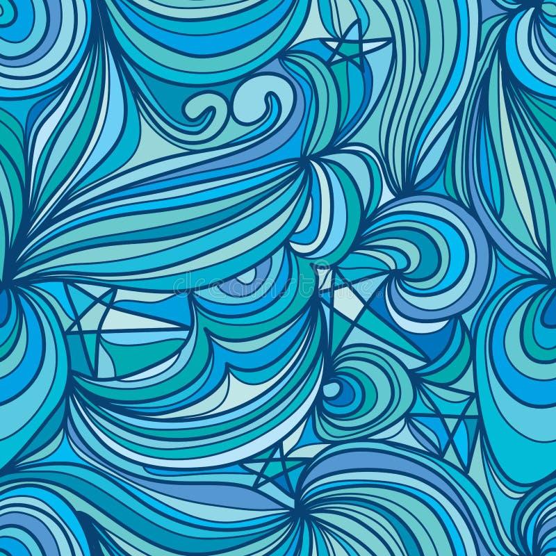 Ligne modèle sans couture d'abrégé sur ciel d'étoile de lune illustration de vecteur