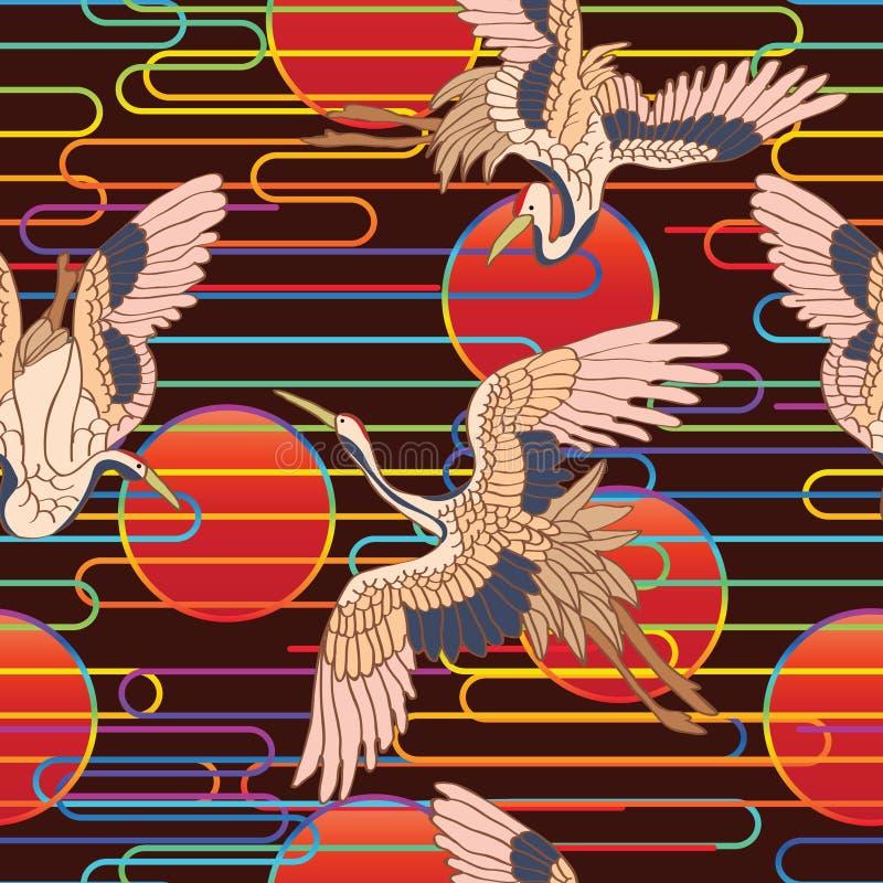 Ligne modèle sans couture de nuage du Japon du soleil rouge d'arc-en-ciel illustration stock