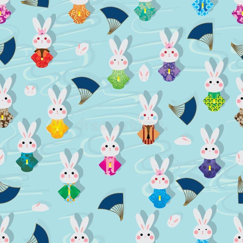 Ligne modèle sans couture de nuage de kimono de lapin du Japon de lapin de fan illustration de vecteur