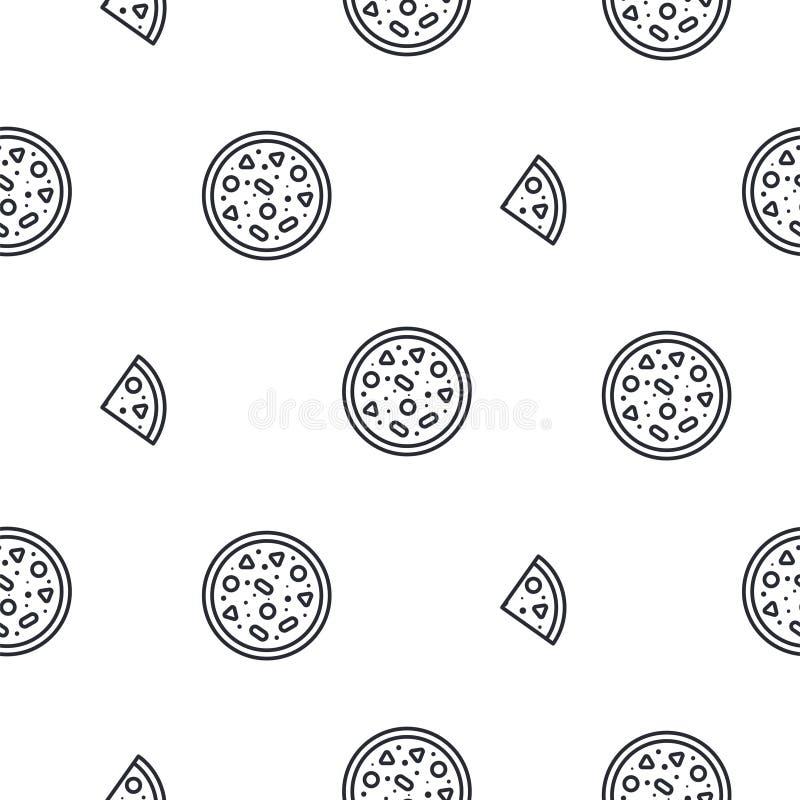 Ligne modèle sans couture de pizza de vecteur d'icône illustration libre de droits