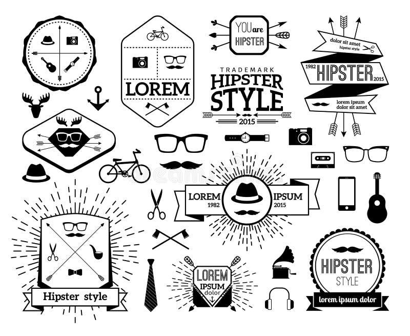 Ligne moderne ensemble de hippie monochrome de logo illustration libre de droits