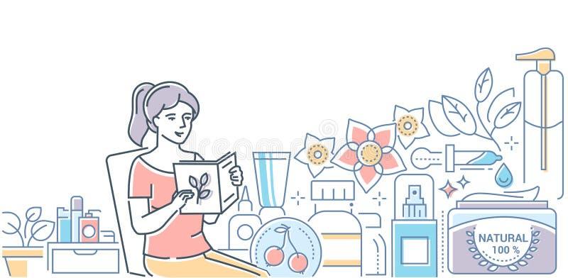 Ligne moderne illustration de cosmétiques organiques de style de conception illustration libre de droits