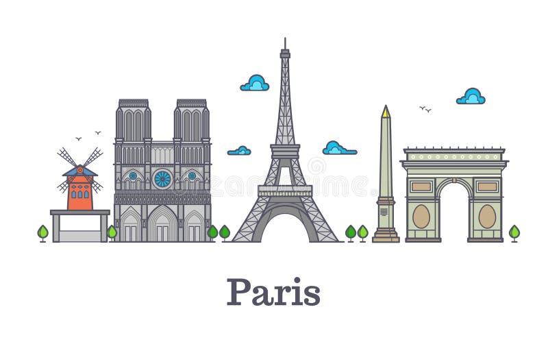Ligne moderne point de repère, illustration de voyage de Frances de vecteur de panorama de Paris illustration stock