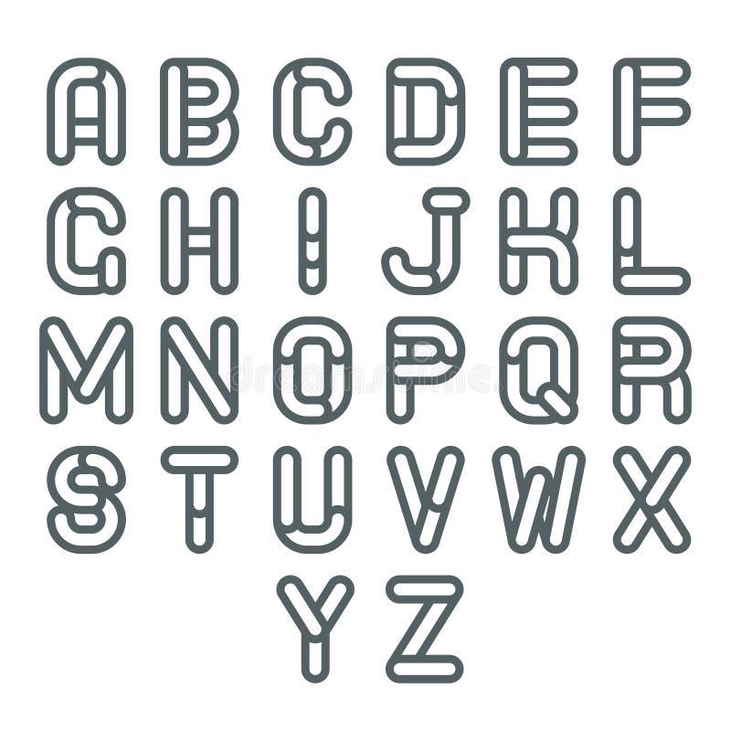 Ligne molle de Lineart rétro alphabet a de cru à illustration de vecteur de création de fonte de z illustration de vecteur