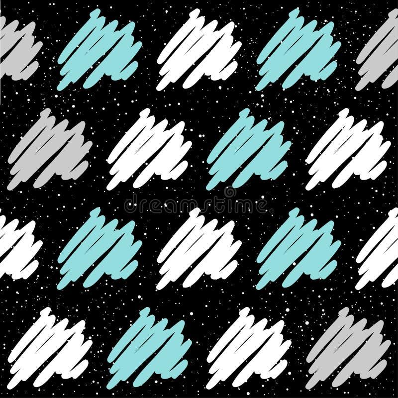 Ligne molle sur le fond sans couture noir Lin gris, blanc et bleu illustration libre de droits