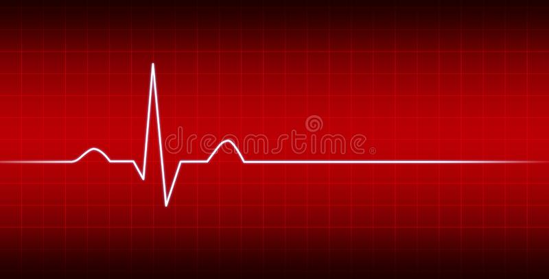 Ligne moniteur de coeur d'électrocardiogramme avec le fond rouge illustration de vecteur