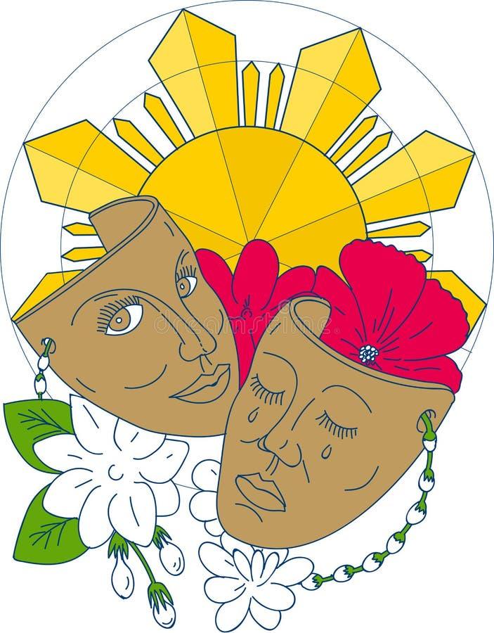 Ligne mono de fleur de Sampaguita de ketmie de Philippine Sun de masque de drame illustration de vecteur