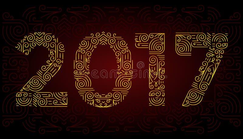 Ligne mono symboles élégants d'année d'éléments de conception Vue Illustration de vecteur illustration de vecteur