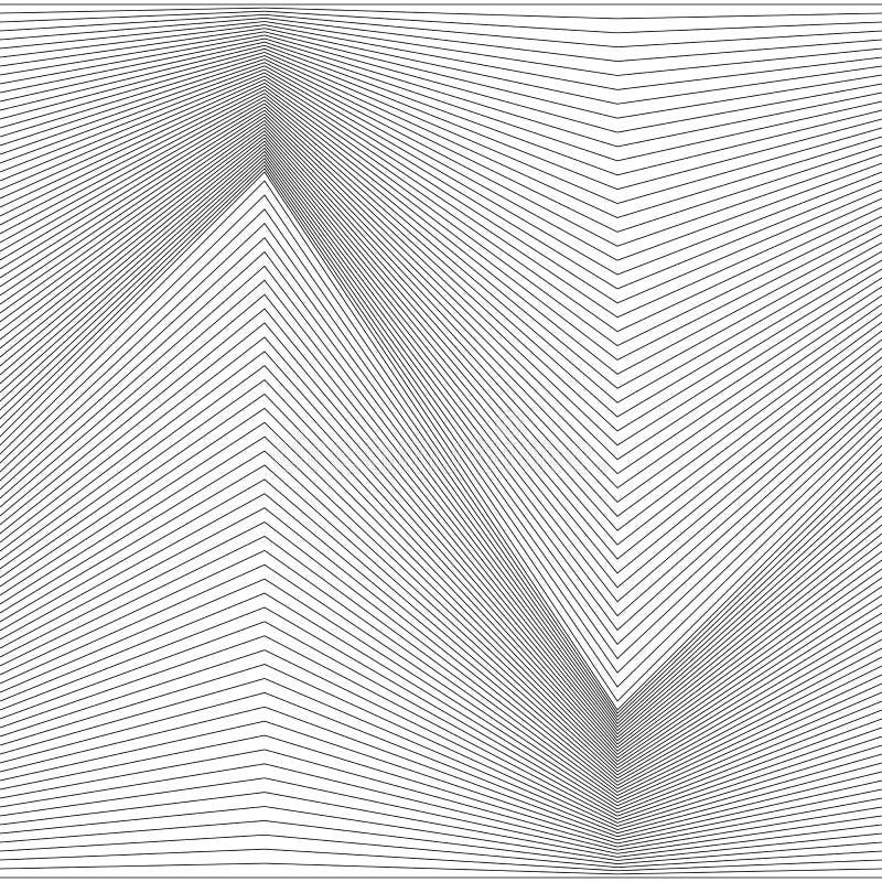 Ligne monochrome abstraite conception de fond de modèle dans la forme de zigzag - graphique de vecteur illustration stock