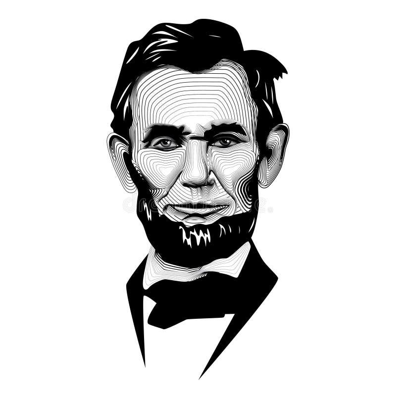 Ligne monochrome blanche noire historique Art President Abraham Lincoln de vecteur illustration libre de droits