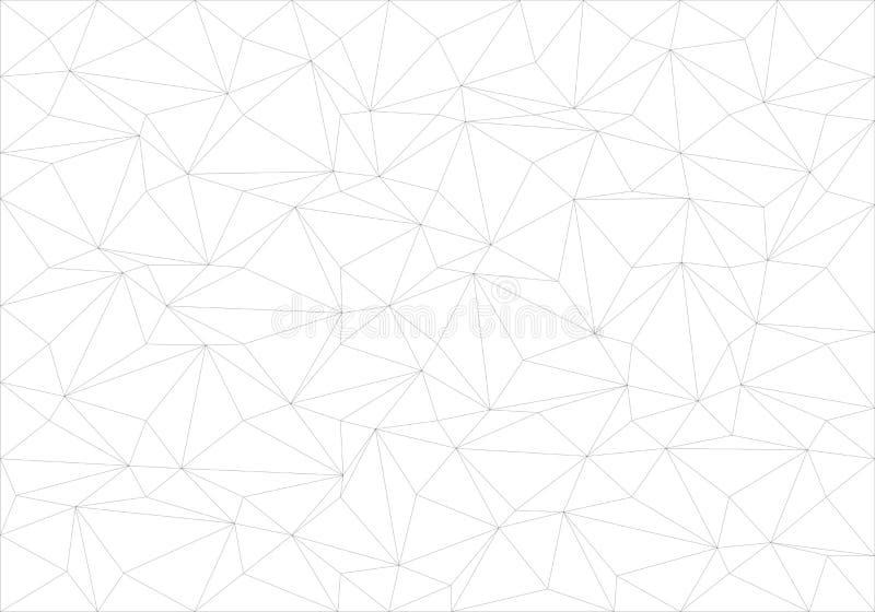 Ligne noire abstraite modèle mince de polygone sur le vecteur blanc de texture de fond illustration libre de droits