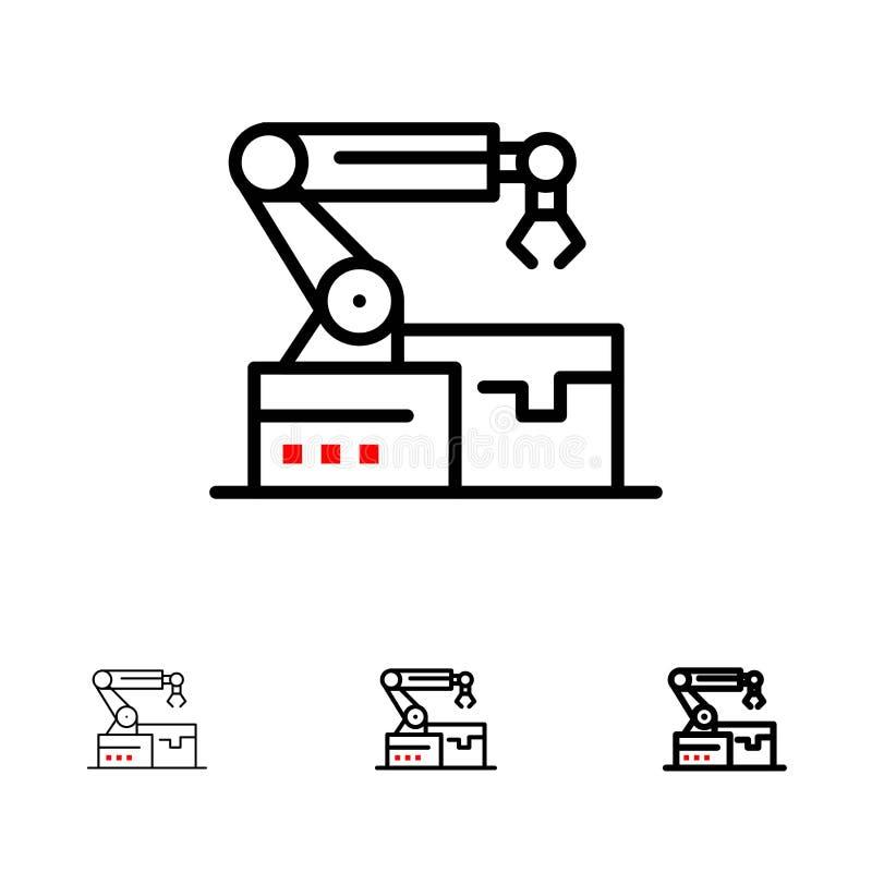 Ligne noire audacieuse et mince ensemble automatisé, robotique, de bras, de technologie d'icône illustration libre de droits