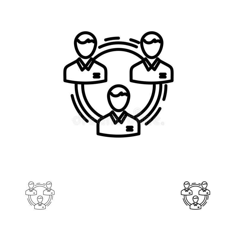 Ligne noire audacieuse et mince ensemble d'équipe, d'affaires, de communication, de hiérarchie, de personnes, sociale, de structu illustration de vecteur
