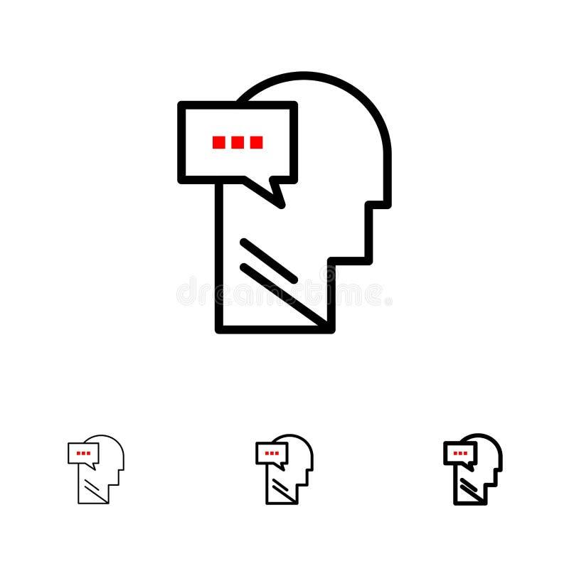 Ligne noire audacieuse et mince ensemble d'esprit, de dialogue, intérieure, principale d'icône illustration libre de droits