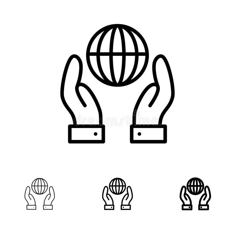 Ligne noire audacieuse et mince ensemble de biosphère, de conservation, d'énergie, de puissance d'icône illustration de vecteur