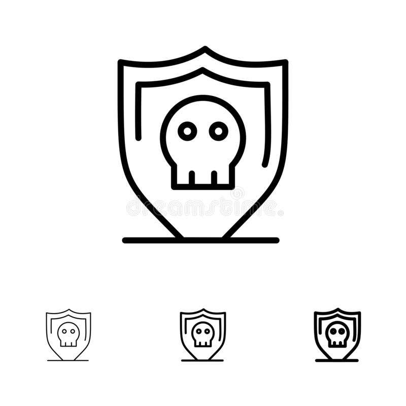 Ligne noire audacieuse et mince ensemble de bouclier, de sécurité, sûre, simple d'icône illustration de vecteur