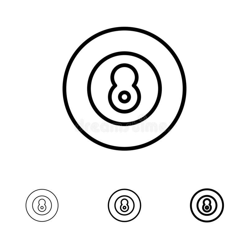 Ligne noire audacieuse et mince ensemble de boule, de base-ball, de jeu, de sport d'icône illustration libre de droits