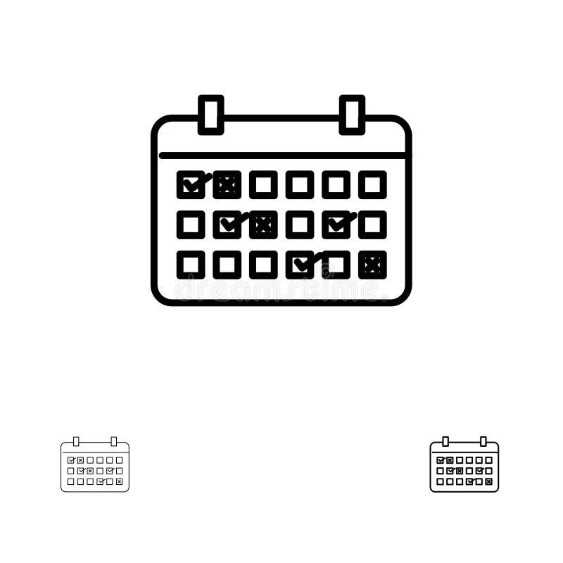 Ligne noire audacieuse et mince ensemble de calendrier, de date, de mois, d'année, de temps d'icône illustration de vecteur