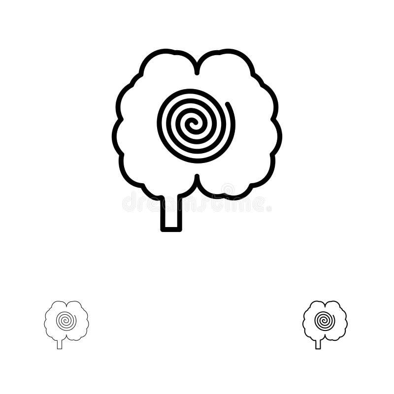 Ligne noire audacieuse et mince ensemble de cerveau, de tête, d'hypnose, de psychologie d'icône illustration libre de droits