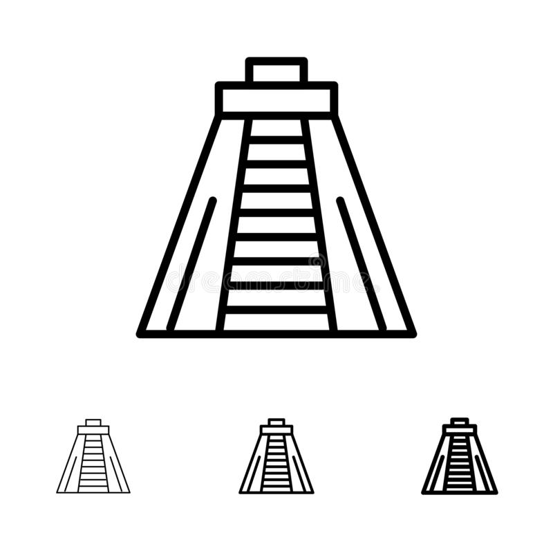 Ligne noire audacieuse et mince ensemble de Chichen Itza, de point de repère, de monument d'icône illustration stock
