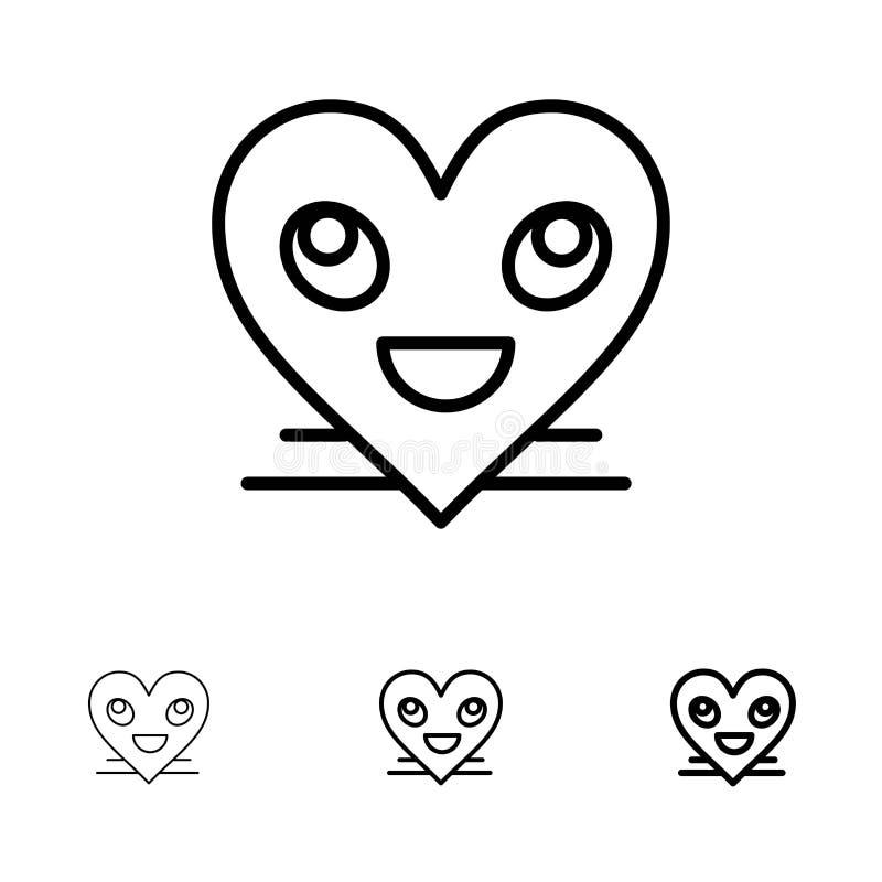 Ligne noire audacieuse et mince ensemble de coeur, d'Emojis, de smiley, de visage, de sourire d'icône illustration libre de droits